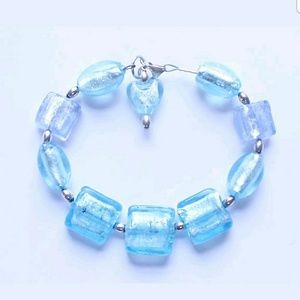 Jewelry - Vintage Sterling Silver & Blue Glass Bracelet